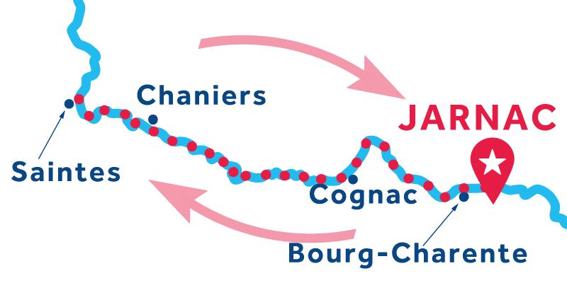 Jarnac ANDATA E RITORNO via Cognac e Saintes