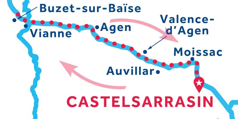 Castelsarrasin ANDATA E RITORNO via Buzet-sur-Baïse