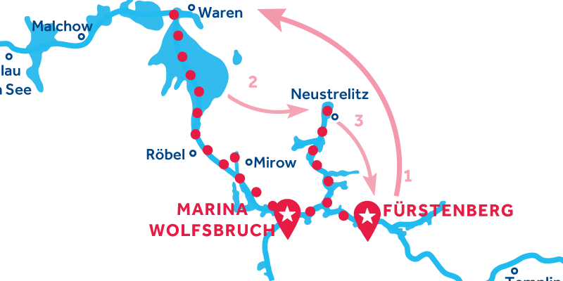 Fürstenberg ANDATA E RITORNO via Waren & Neustrelitz