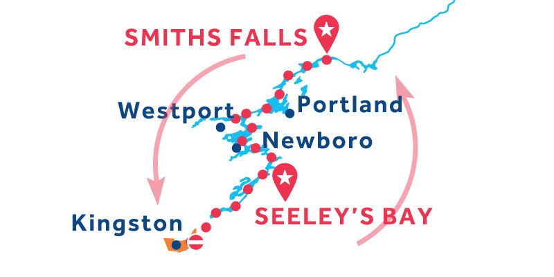 Smiths Falls ANDATA E RITORNO via Merrickville e Kingston