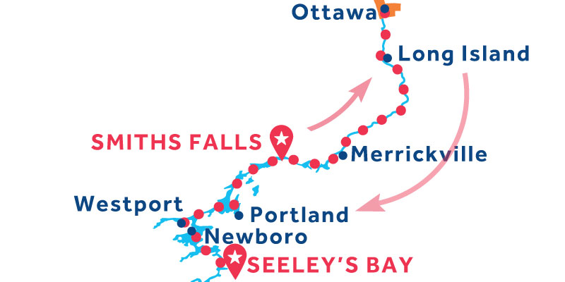 Da Smiths Falls a Seeley's Bay via Ottawa