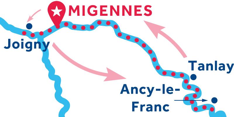 Migennes ANDATA E RITORNO via Joigny, Auxerre e Tanlay