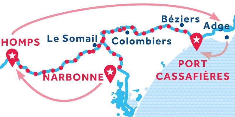 Narbonne - Port Cassafières via Homps & Agde