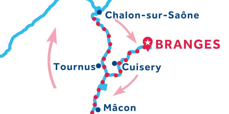 Branges ANDATA E RITORNO via Mâcon e Chalon-sur-Saône