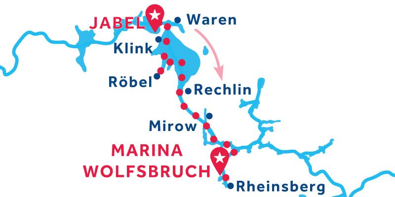 Da Jabel a Marina Wolfsbruch via Rheinsberge Mirow