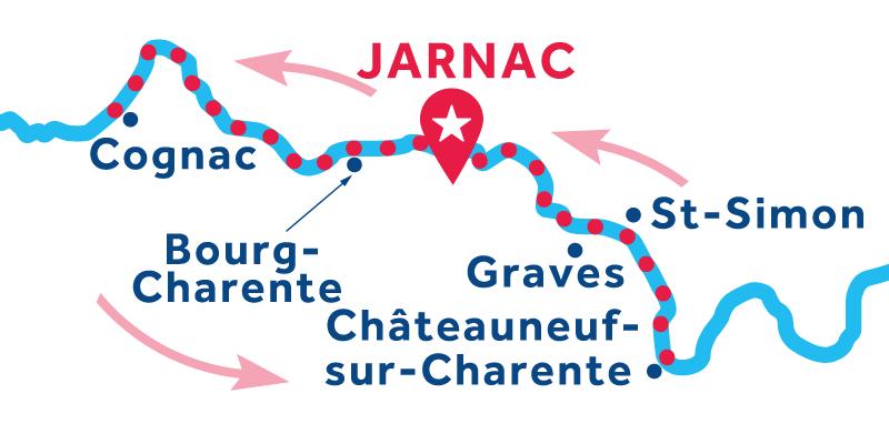 Jarnac ANDATA E RITORNO via Cognac e Châteauneuf-sur-Charente
