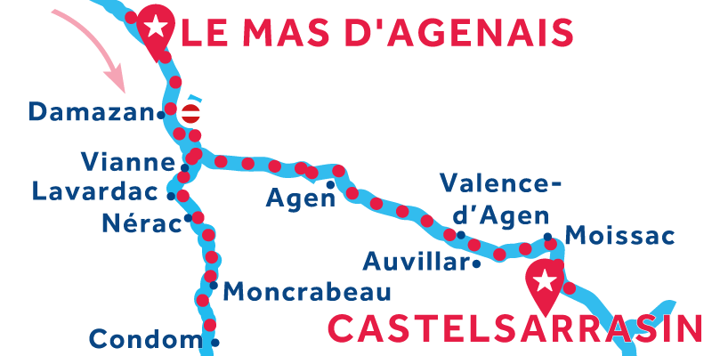 Le Mas-d'Agenais a Castelsarrasin via Condom