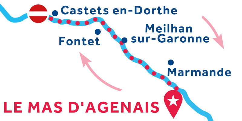 Le Mas-d'Agenais ANDATA E RITORNO via Buzet-sur-Baïse