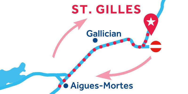 Saint-Gilles ANDATA E RITORNO via Aigues-Mortese Palavas