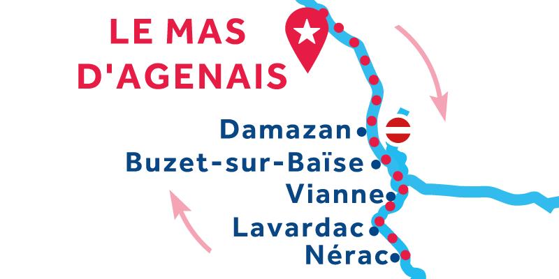 Le Mas-d'Agenais ANDATA E RITORNO via Nérac