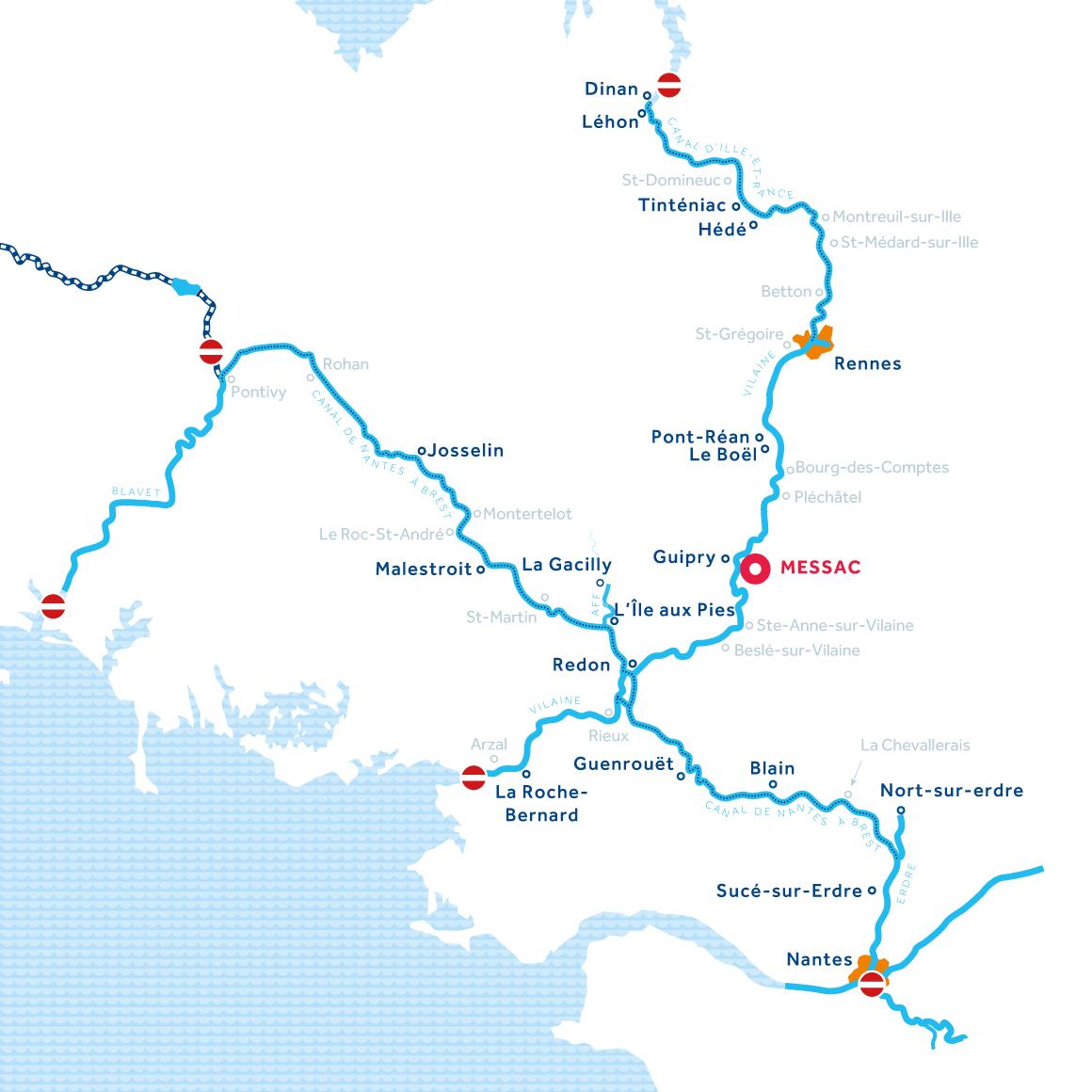 Mappa zona di navigazione Bretagna in Francia