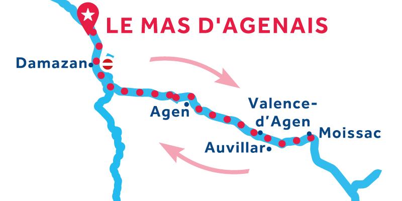 Le Mas-d'Agenais ANDATA E RITORNO via Moissac