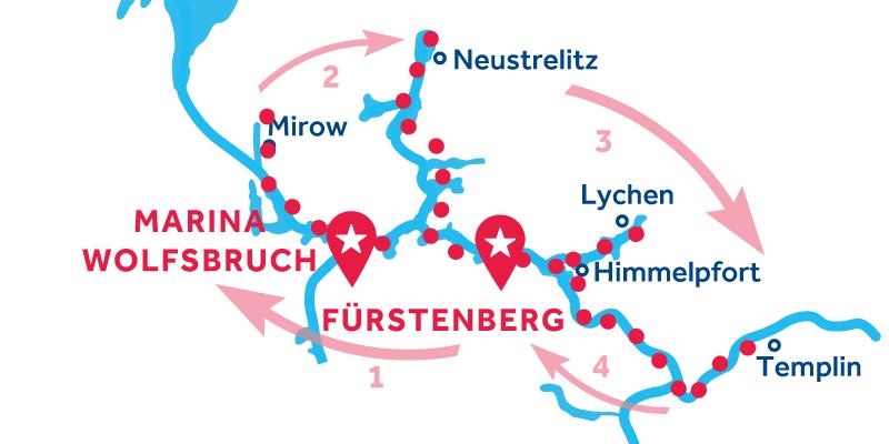Fürstenberg ANDATA E RITORNO via Mirow, Neustrelitz & Templin
