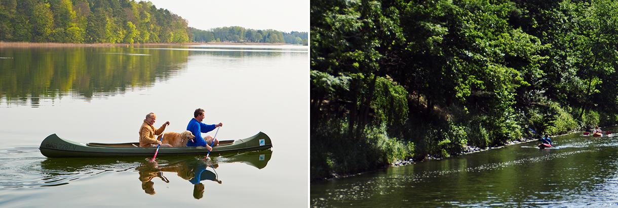 Canoa nel cuore distretto dei laghi del Meclemburgo
