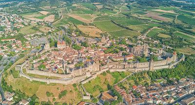 Vista aerea sulla cittadella di Carcassonne