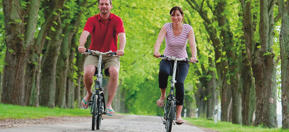 Coppia in bicicletta nella foresta della Sprea (Spreewald), Germania