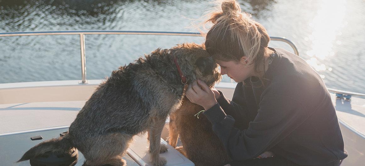 Cane a bordo di una barca