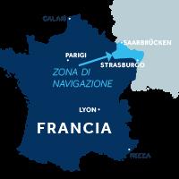 Mappa della zona di navigazione dell'Alsazia in Francia