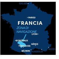 Mappa della zona di navigazione dell'Aquitania in Francia