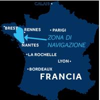 Mappa della zona di navigazione della Bretagna in Francia