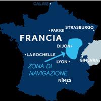 Mappa della zona di navigazione della Borgogna Franche-Comté in Francia