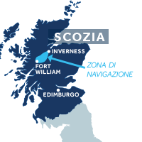 Mappa della zona di navigazione del Canale di Caledonia in Scozia