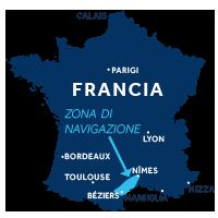 Mappa della zona di navigazione della Camargue in Francia