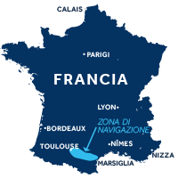 Mappa della zona di navigazione del Canal du Midi in Francia
