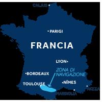 Mappa zona di navigazione Canal du Midi Francia