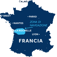 Mappa della zona di navigazione del Charente in Francia