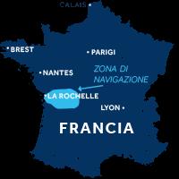 Mappa zona di navigazione Charente in Francia