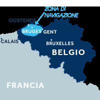 Mappa della zona di navigazionedelle Fiandre in Belgio