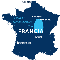Mappa della zona di navigazione della valle della Loira e Nivernais in Francia