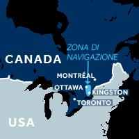 Mappa della zona di navigazione del Canale Rideau in Canada