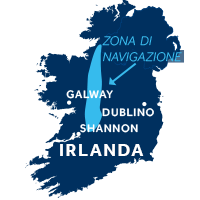 Mappa della zona di navigazione Shannon ed Erne in Irlanda