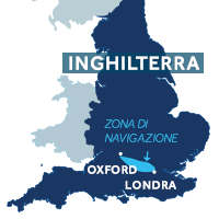 Mappa della zona di navigazione del Tamigi in Inghilterra