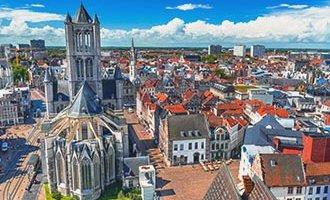 Veduta di Gand e la chiesa San Nicola